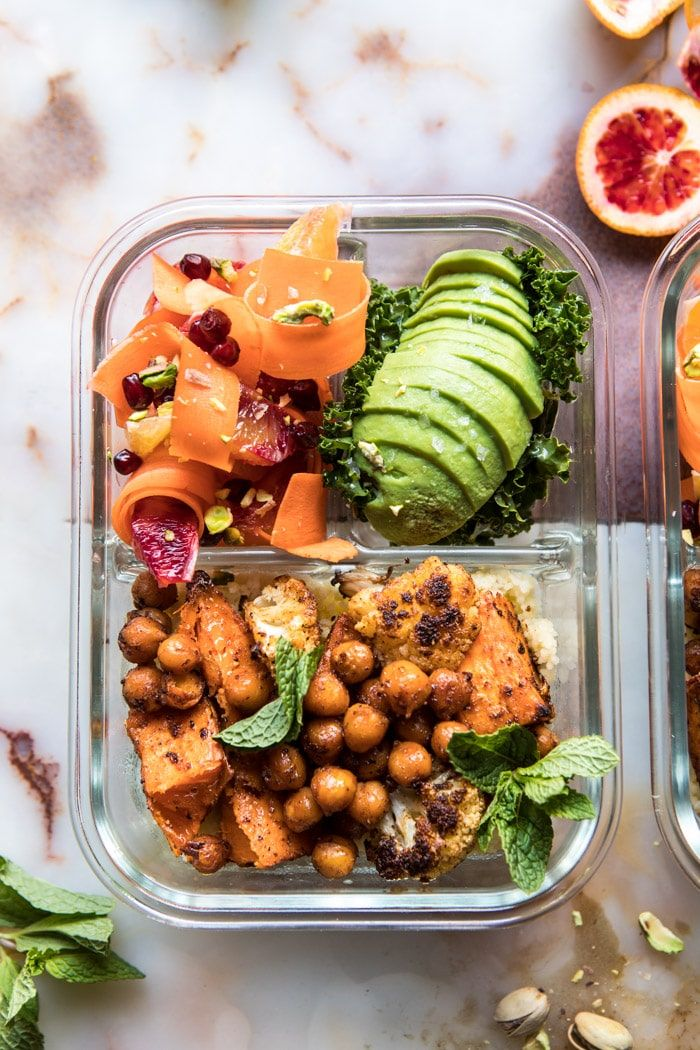 Meal Prep Moroccan Chickpea Sweet Potato And Cauliflower Bowls