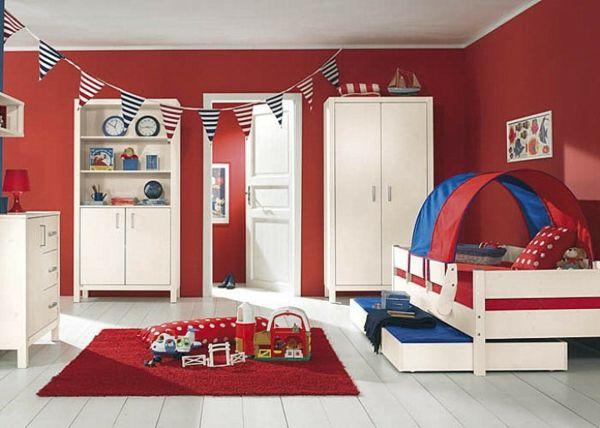 kinderzimmer streichen ideen wandfarbe kinderzimmer Kinderzimmer - schlafzimmer in rot gestalten ideen