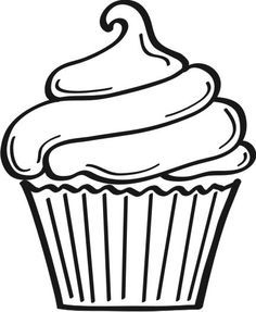 image regarding Printable Cupcakes called 5 Easiest Pics of Printable Birthday Cupcake Outlines - Black