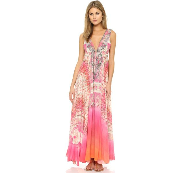 Long v-neck empire waist dress with print
