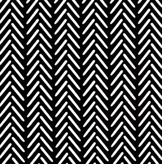 Black White Outdoor Fabric Modern Herringbone For