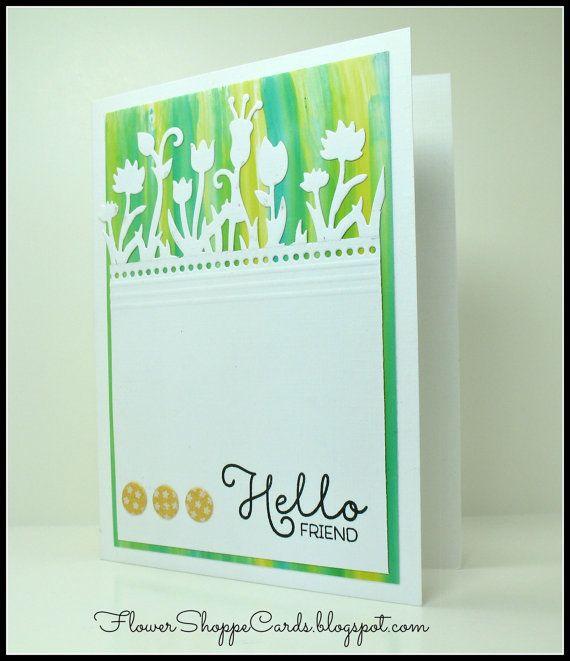 Lovely Handmade Hello Friend Spring Greeting by FlowerShoppeCards