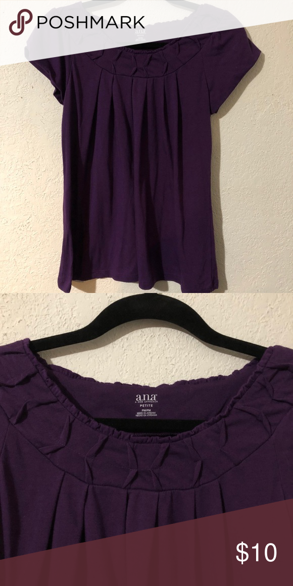 498742e377a a.n.a. Petite Top Cute purple a.n.a. top 65% Polyester 35% Rayon ...