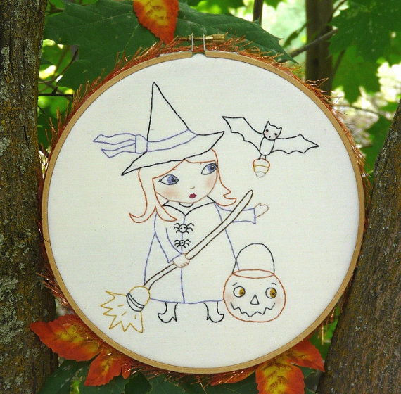 Halloween WITCH bewitched embroidery Pattern PDF - hoop trick or ...
