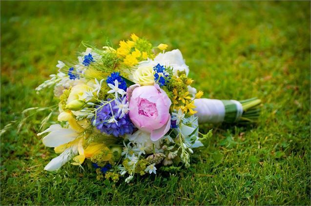 Pink, blue and yellow bouquet