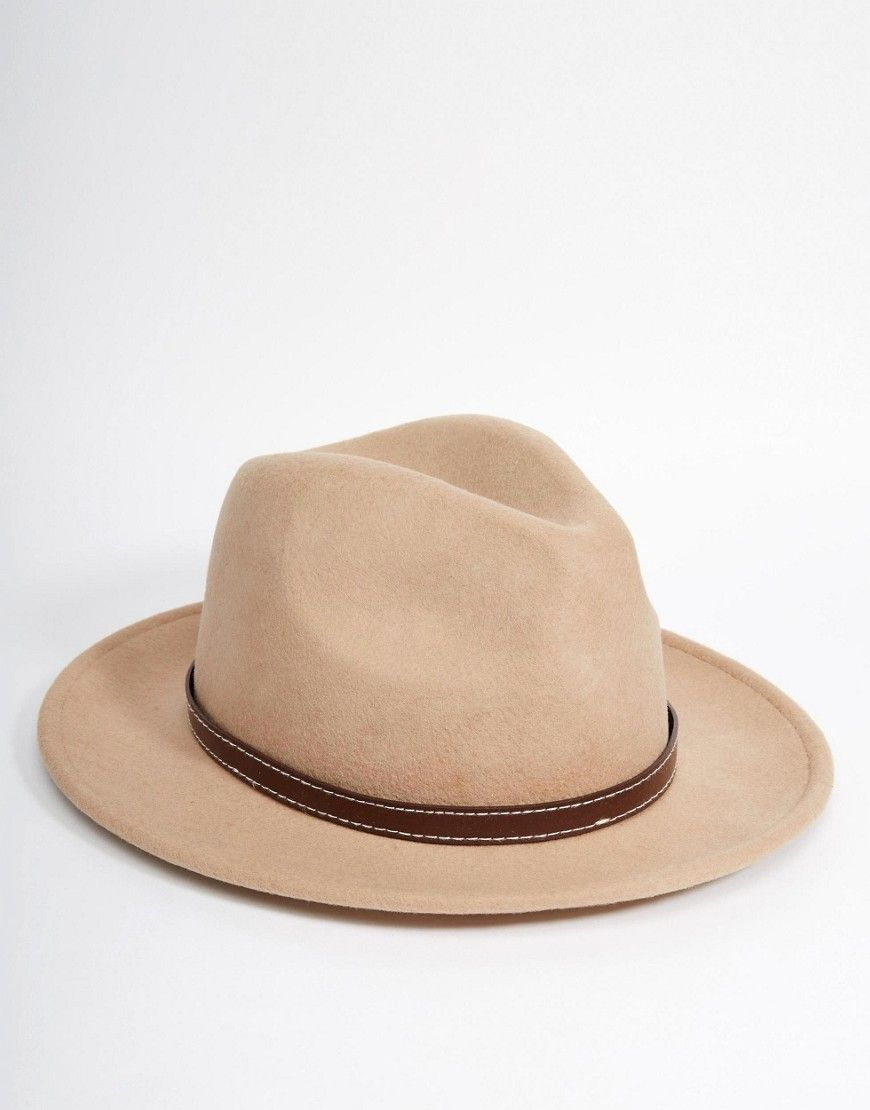 82f49ef3033b3 ASOS+Fedora+Hat+In+Stone+Felt+With+Faux+Leather+Band