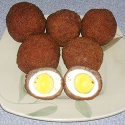 Scotch Eggs #scotcheggs Scotch Eggs Allrecipes.com    Just 5 ingredients, and 45 minutes.  All you need is eggs, pork sausage, oil, bread crumbs, and flour.    Bf loves these, might have to try it this weekend  :) #scotcheggs Scotch Eggs #scotcheggs Scotch Eggs Allrecipes.com    Just 5 ingredients, and 45 minutes.  All you need is eggs, pork sausage, oil, bread crumbs, and flour.    Bf loves these, might have to try it this weekend  :) #scotcheggs