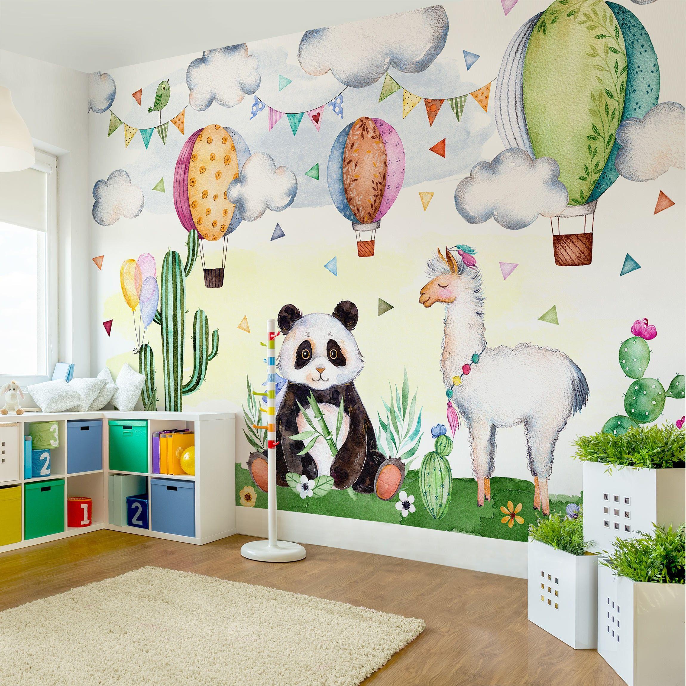 Fototapete Panda Und Lama Aquarell In 2020 Kinder Tapete