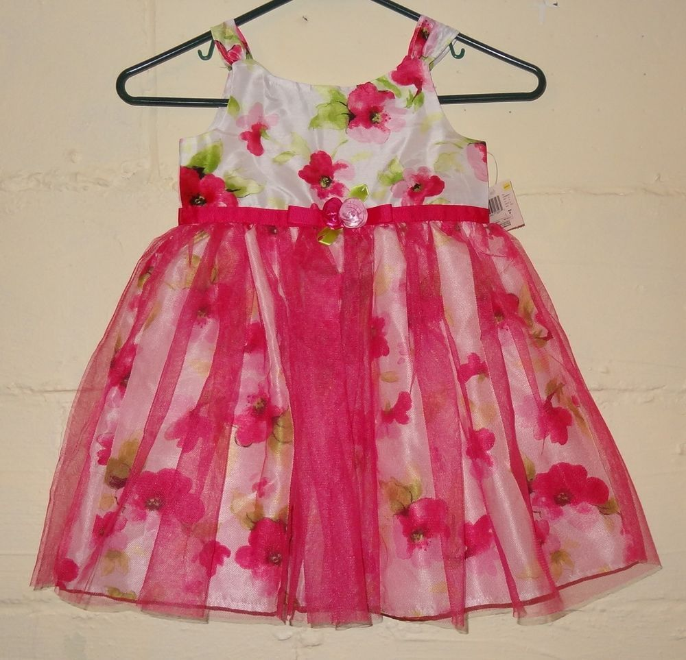 New Pink White Floral Dress Size 4t Girl S Flowers 34 38 Lbs Tulle Taffeta Girl Outfits White Floral Dress Dresses [ 963 x 1000 Pixel ]