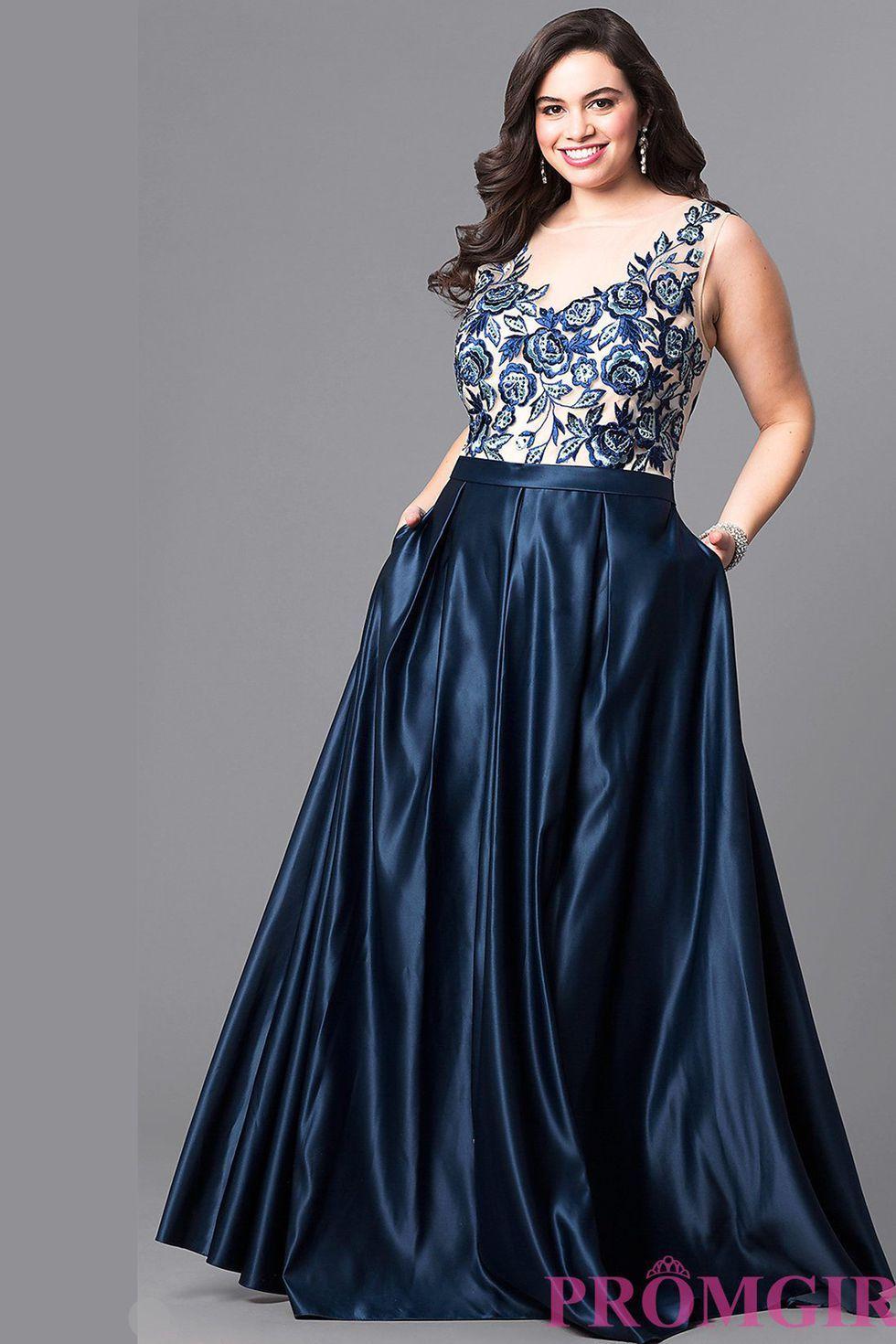 Plus Size Blue Prom Dresses