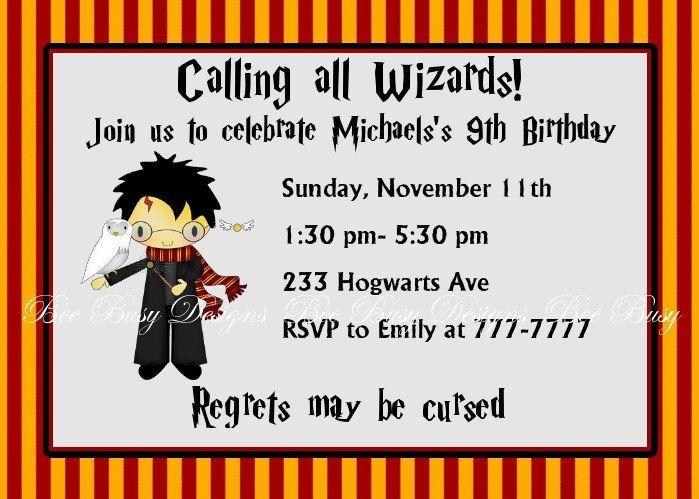 Harry Potter Birthday Invitations Printable Harry