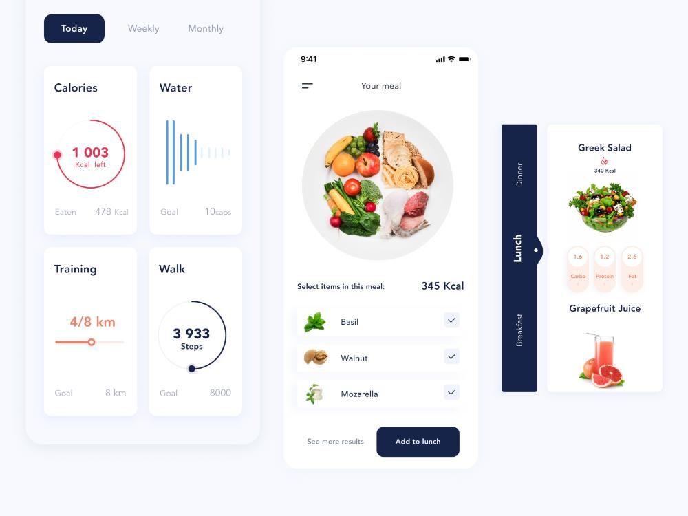 Concept of Diet App. Smart Plate Diet apps, User