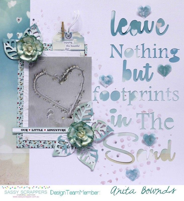 #papercraft #scrapbook #layout. Leave nothing but footprints in the sand by AnitaBownds at @studio_calico