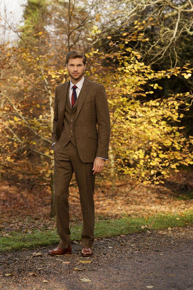 Slim Fitting Tweed 3 Piece Wedding Suits For Groom Blue Brown Green All Sizes Brown Suit Wedding Wedding Suits Groom Wedding Suits