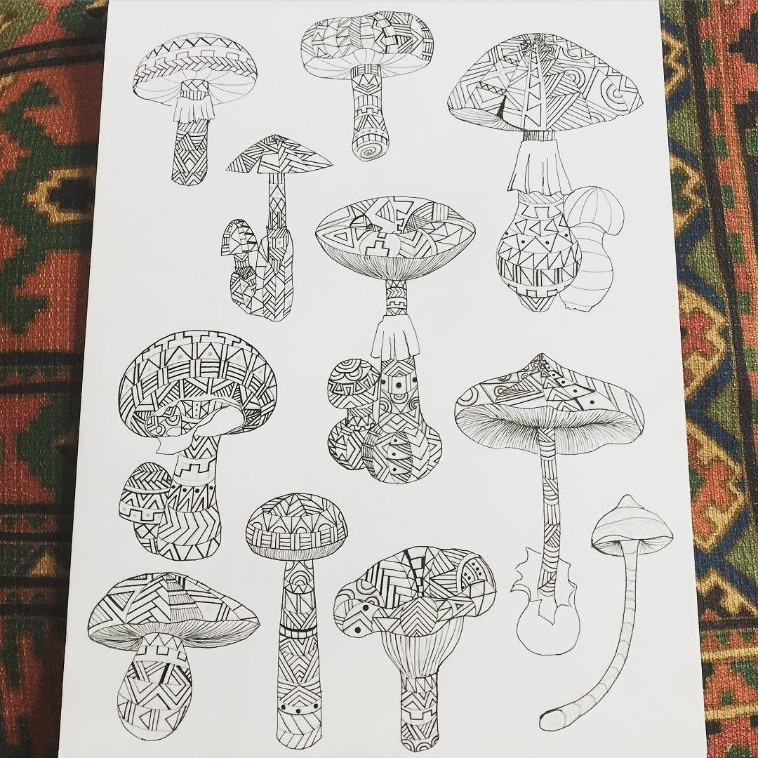 Psychedelic MushroomsBeen Working On This Fun Drawing To Turn Into A Coloring Book Mushrooms Psychedelicart Visionaryart
