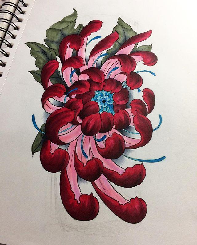Purple Chrysanthemum Japanese Flower Tattoo Flower Drawing Flower Illustration
