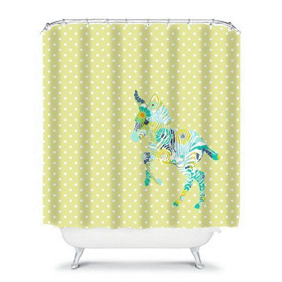 Kids Shower Curtain Jungle Shower Curtain Yellow Bathroom Decor
