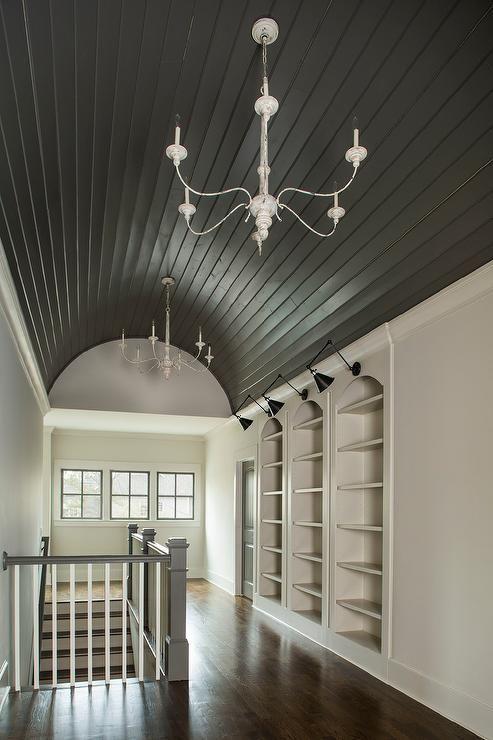 Black Barrel Hallway Ceiling With Shiplap Trim Cottage Entrance Foyer Barrel Ceiling Shiplap Trim Home