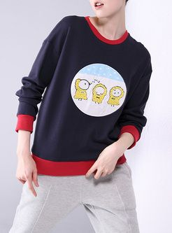 Stylish Hit Color Cartoon Patch Sweatshirt