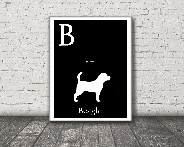 Alphabet Stretched Canvas Art Dog Art B Is For Beagle Canvas Art Print Dog Silhouette Art Nursery Art Dog Breed Gift Beagle Gift Canvas Art Prints Dog Silhouette Silhouette Art
