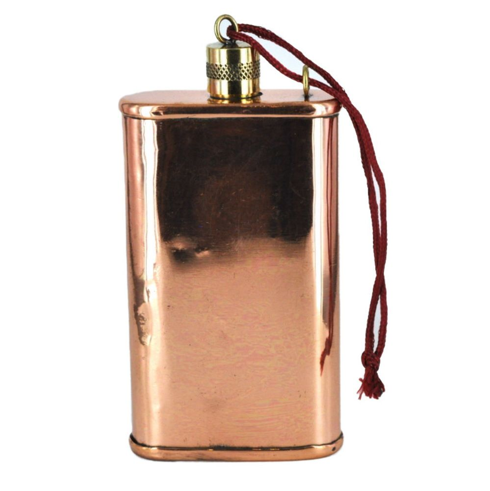 5 solid copper flask with brass top 8oz with images