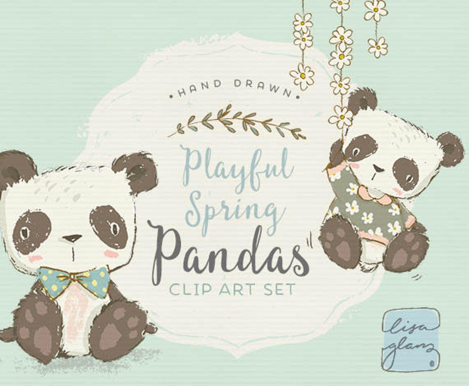 Spring Pandas Clipart Set Panda Bear Clip Art Sweet Clipart Etsy In 2021 Clip Art Panda Illustration Animal Clipart