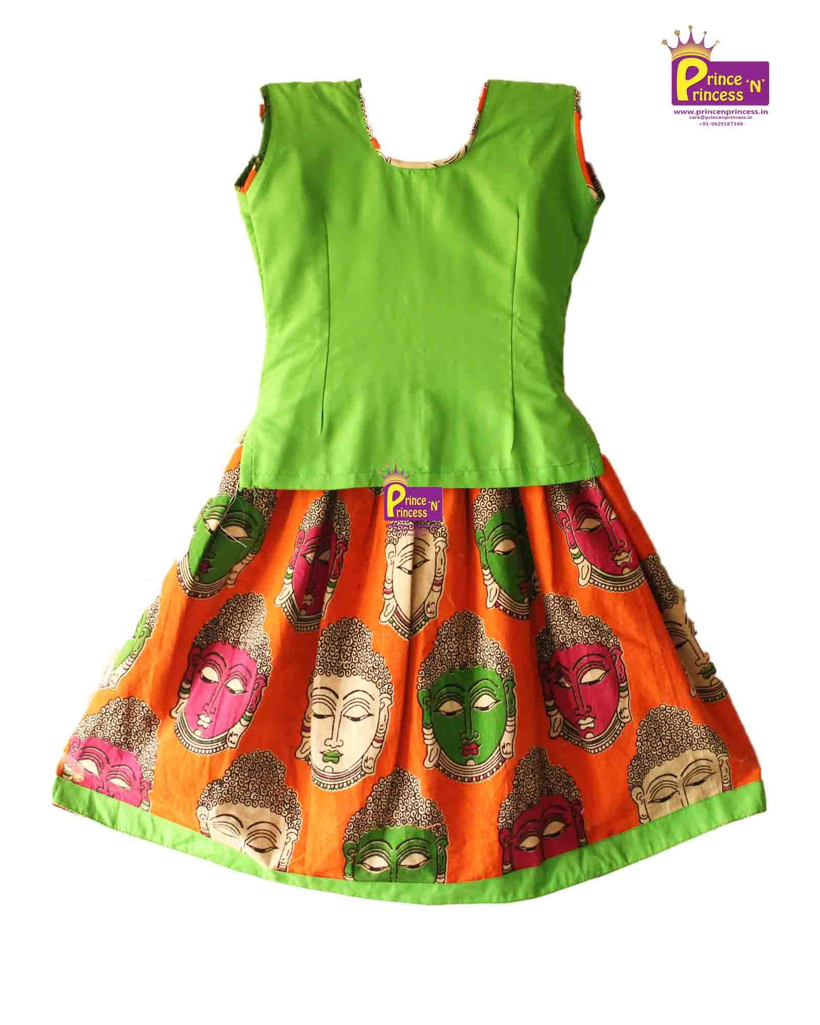 Kids green orange kalamkari pavadai langa with international