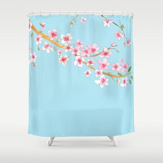 Cherry Blossom Shower Curtain - Fabric - Pink and blue, floral ...