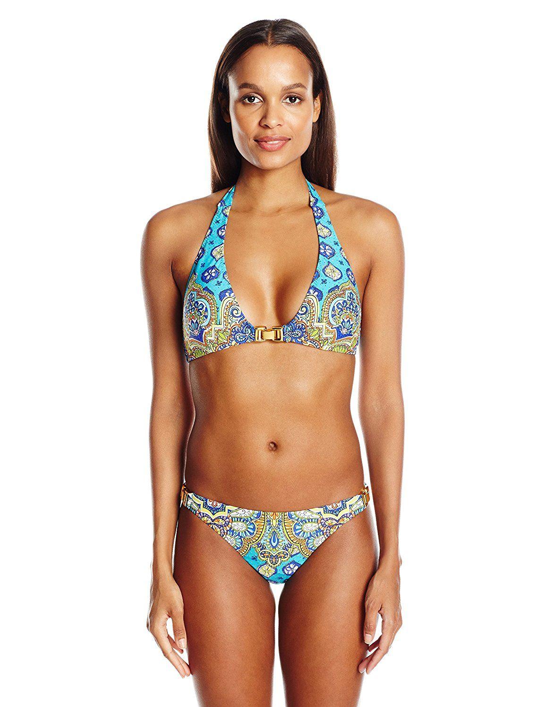 1448ca3b878 $44 12 AmazonSmile: Trina Turk Women's Corsica Sexy Buckle-Front Halter Swimsuit  Bikini Top: Trina Turk: Clothing