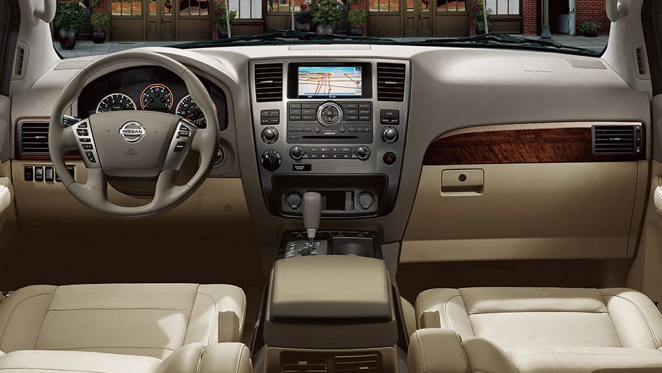 Nissan armada platinum shown in almond leather nissan - 2015 nissan armada platinum interior ...