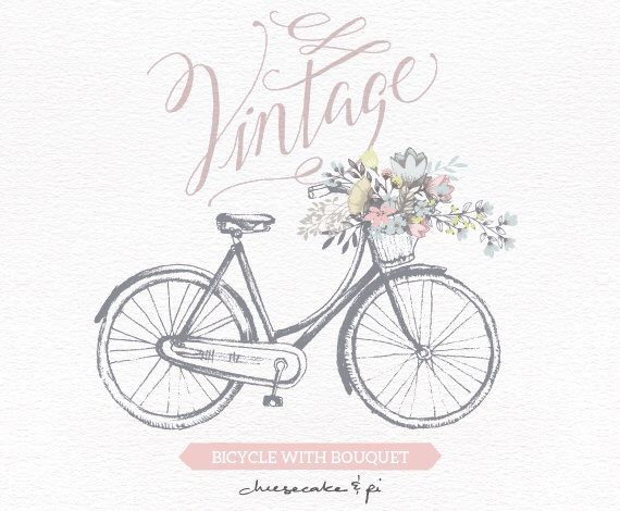 Vintage bicycle with floral bouquet clipart wedding invitation vintage bicycle with floral bouquet clipart wedding invitation clip art graphics commercial use rustic cm0062a stopboris Gallery