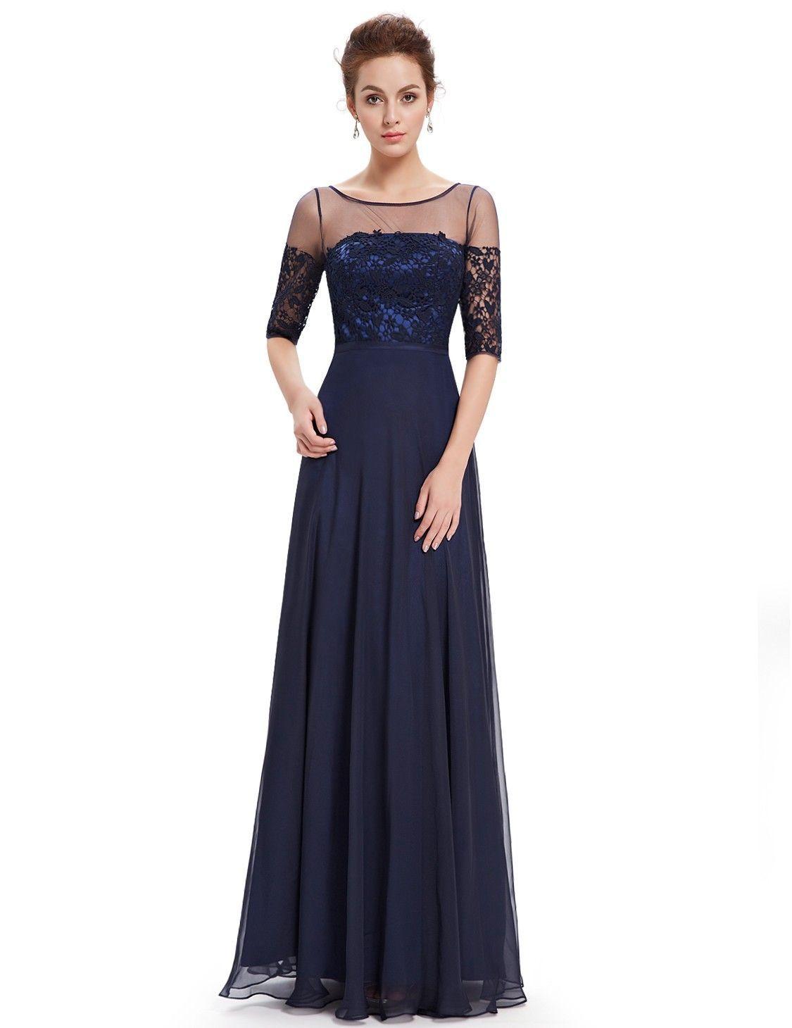 Halbarm Abendkleid Dunkelblau A-Linie #mode #damenmode #fashion