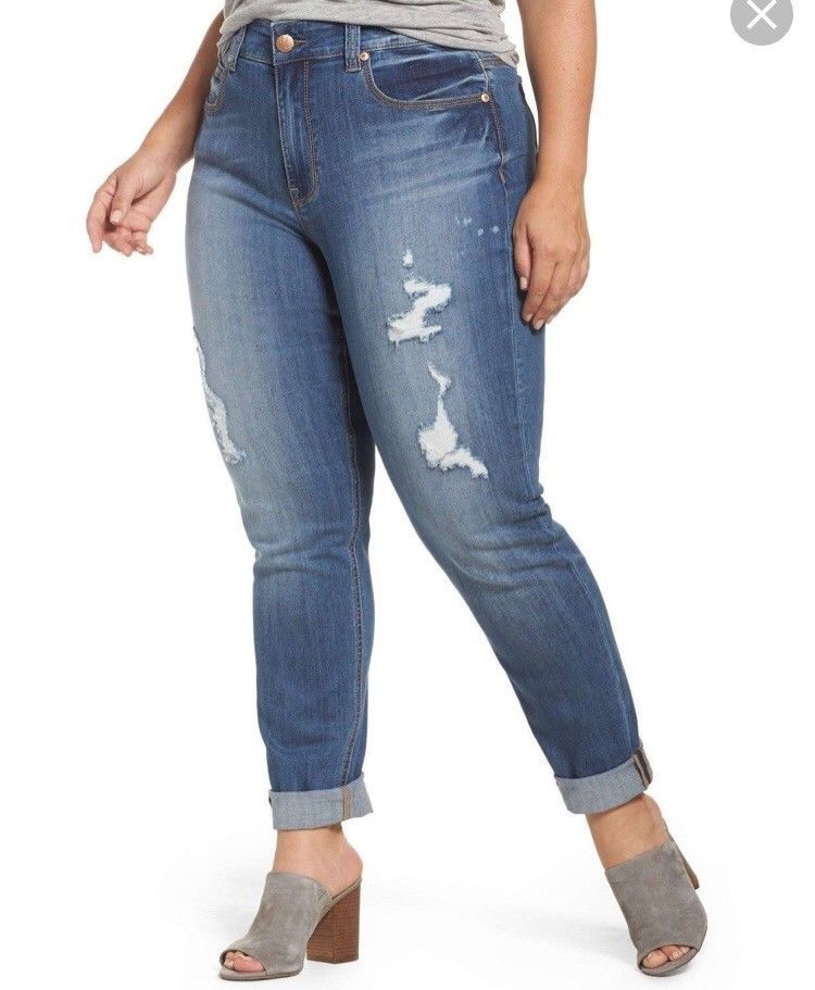 45b158bc08ee4 Melissa McCarthy Seven7 Size 18W Girlfriend Jeans Distressed Light Wash  Stretch
