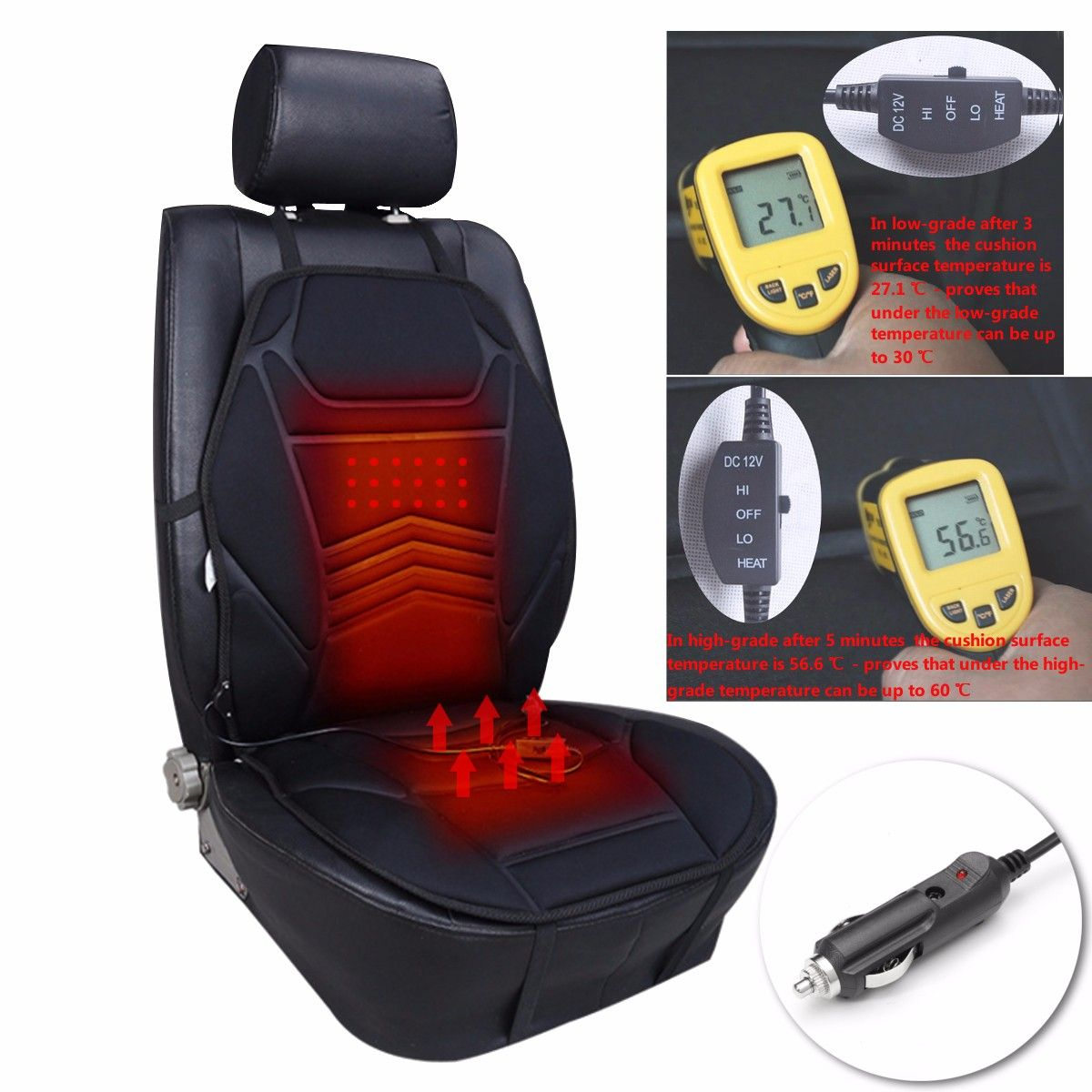 12V Winter Car Warm Heated Seat Cover Cushion Electrical