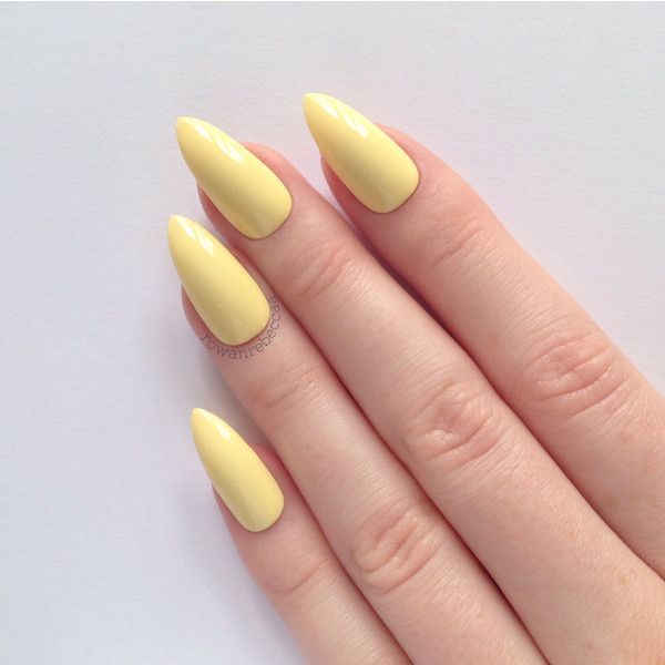 Pastel Yellow Stiletto Nails Nail Designs Art Acrylic Pointy Fake 18 Found On Polyvore