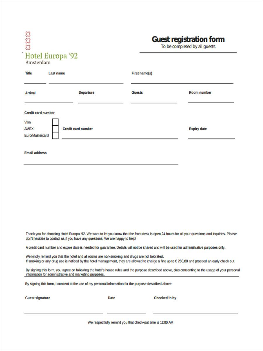 Account Suspended Registration Form Hotel Guest Registration