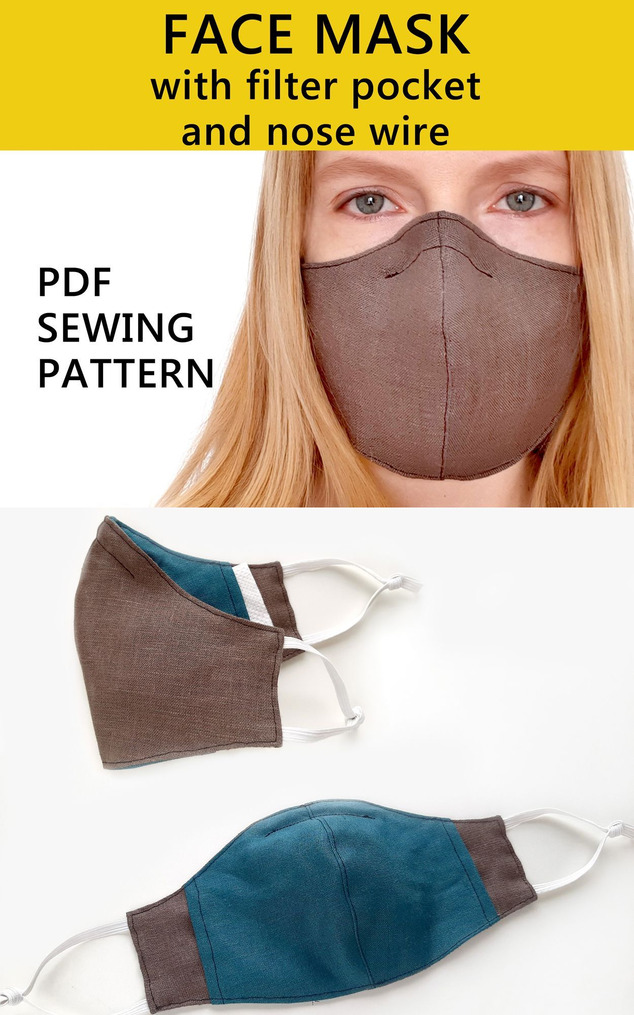 Face Mask Pattern PDF with filter pocket Washable Face
