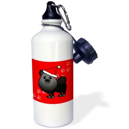 3dRose Cute Black Pomeranian Red with Santa Hat, Sports Water Bottle, 21oz, White