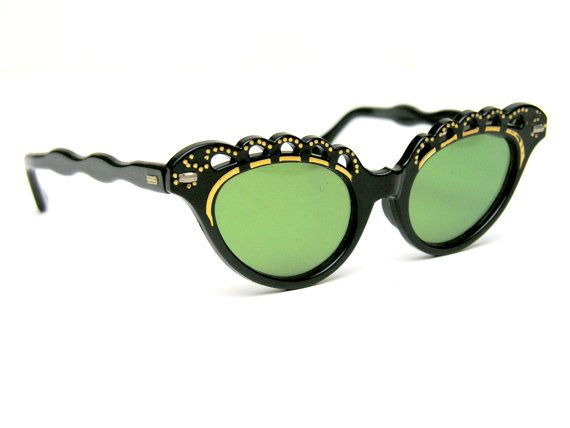 Vintage Cat Eye Glasses Bombshell Sunglasses Sexy Scalloped Black Gold Frames Cut Outs Green Lenses 1950s Style Eyewear for Sun