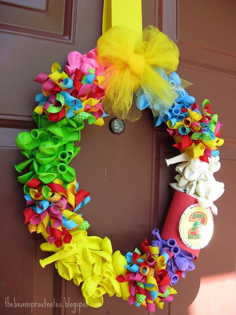 Balloon and Corker Ribbon Birthday Wreath.