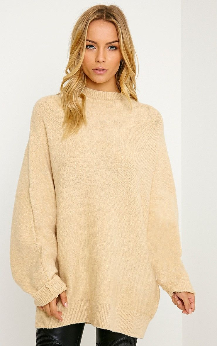 Raysa Beige Oversized Knitted Jumper | Pretty Little Things '16 ...