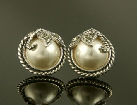 Marcasite Silver And Half Pearl Art Deco Style Stud Earrings Enlarge Image