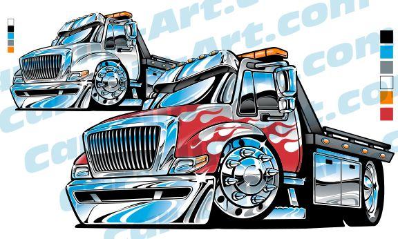 Medium Duty Rolloff Tow Truck Vector Art Truck Art Chevy Trucks
