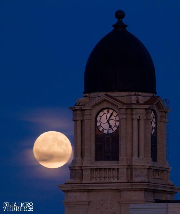 Full moon - Clock Tower, Lethbridge, AB, Canada ~ (Jaime Vedres Photography)