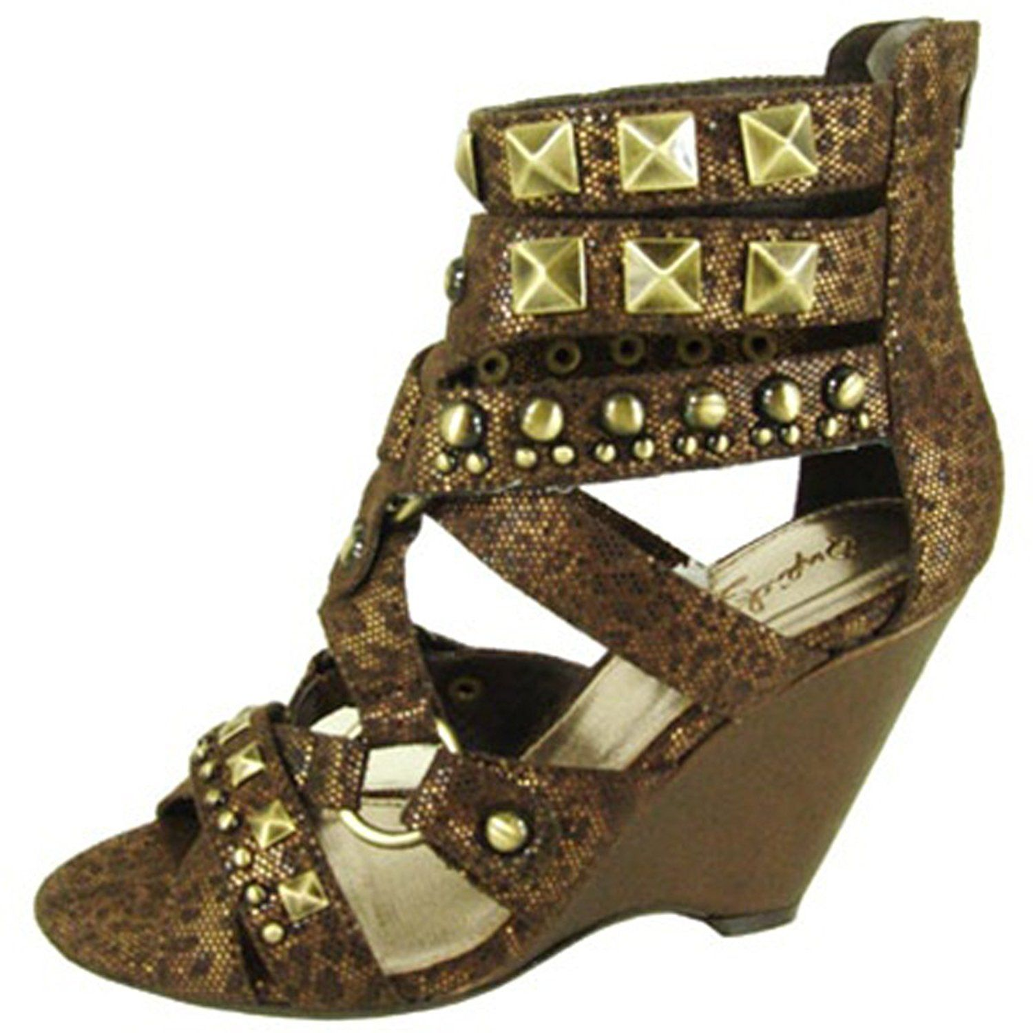 443e2d08902 Qupid Luxe Strappy High Heel Studded Gladiator Strappy Wedge Sandals  Quinvolve Brown Lizard -- Want