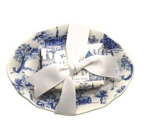 Blue Toile Dish and Soap Set