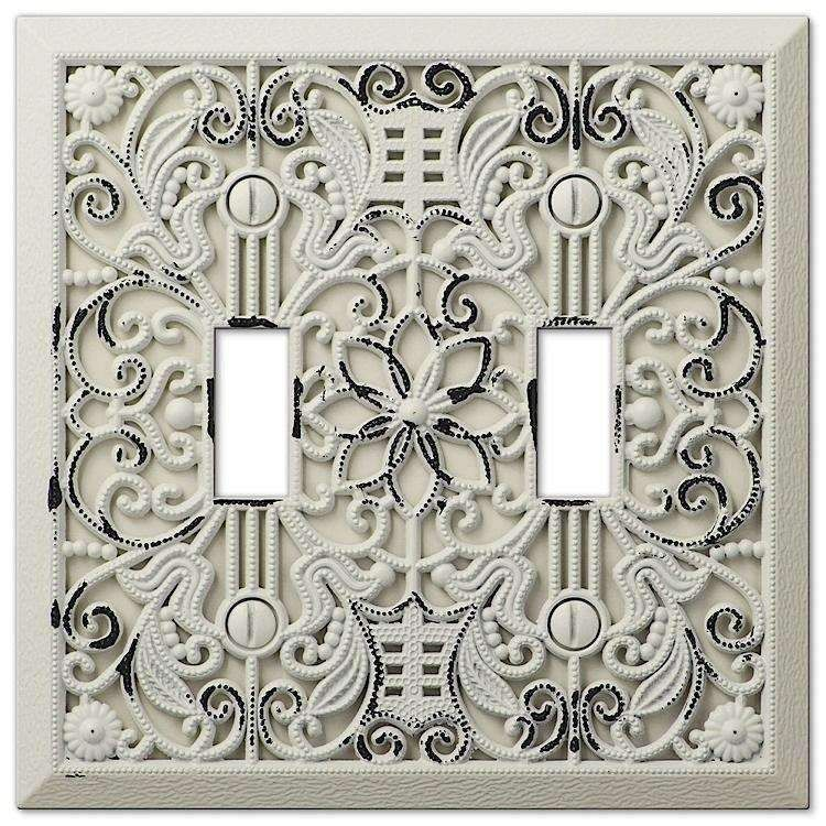 Filigree Antique White Double Toggle Plates On Wall