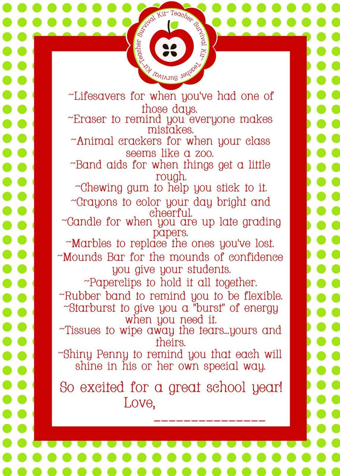 Free Printable Teacher Survival Kit