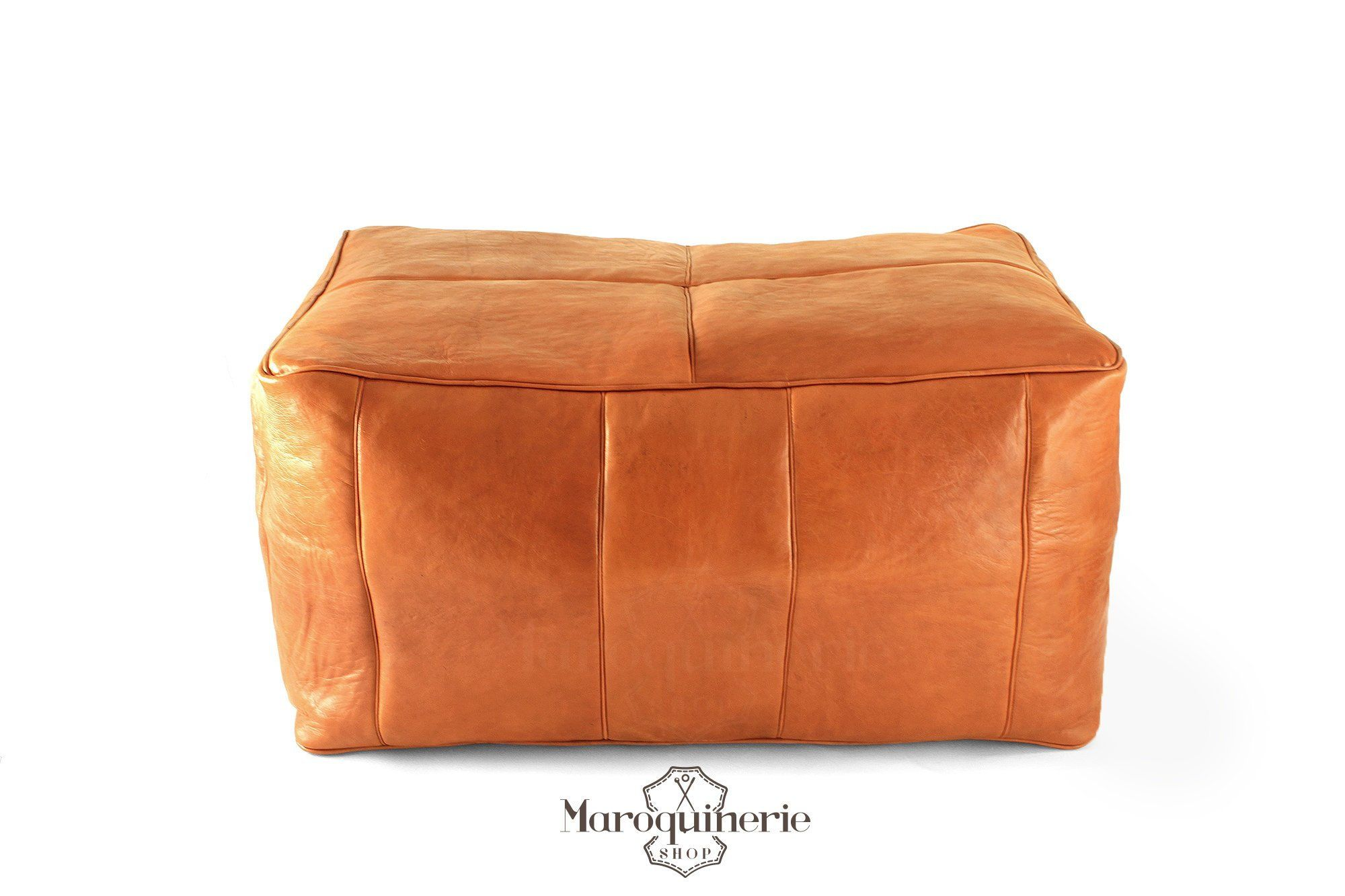 Remarkable Large Orange Leather Pouf Moroccan Leather Pouf Leather Machost Co Dining Chair Design Ideas Machostcouk