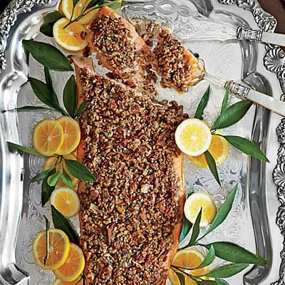 Pecan-and-Dill-Crusted Salmon   This refined whole side of salmon takes only 10 minutes to prep.   SouthernLiving.com
